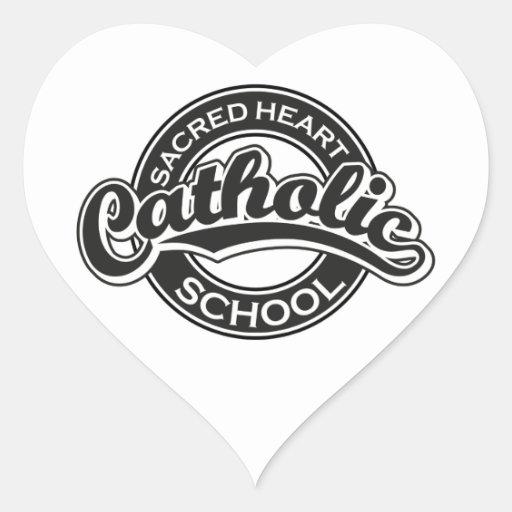 Negro sagrado de la escuela católica del corazón pegatina en forma de corazón