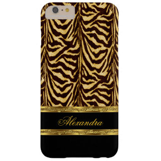 Negro salvaje elegante y oro de la cebra funda para iPhone 6 plus barely there