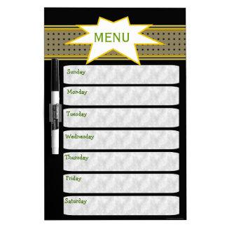Negro semanal del planificador del menú tablero blanco