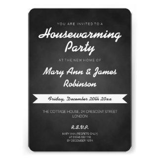 Negro simple de la pizarra del fiesta del estreno  invitaciones personalizada