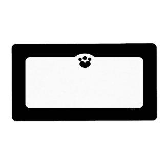 Negro simple del mascota de Art™ del Etiqueta De Envío
