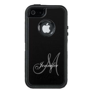 NEGRO SIMPLE, GRIS, SU MONOGRAMA, SU NOMBRE FUNDA OTTERBOX PARA iPhone 5/5s/SE