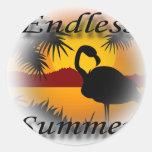 Negro sin fin del verano pegatina redonda