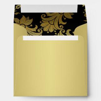 Negro, sobre floral del oro para la invitación