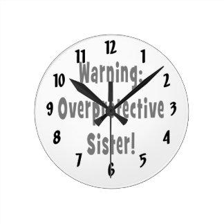 negro sobreprotector amonestador de la hermana reloj redondo mediano