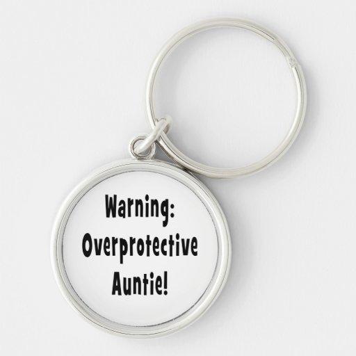 negro sobreprotector amonestador de la tía llaveros