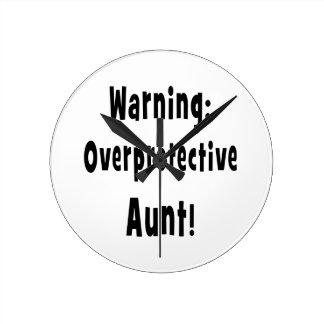 negro sobreprotector amonestador de la tía reloj redondo mediano