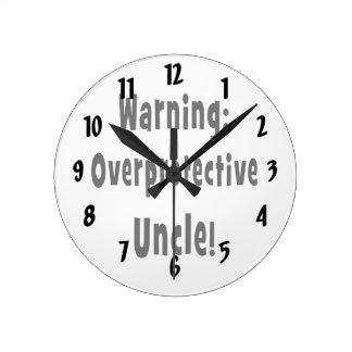 negro sobreprotector amonestador del tío reloj redondo mediano