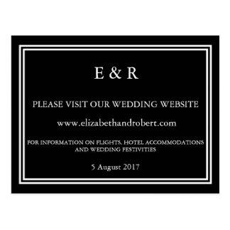 Negro sólido con el detalle blanco del boda postal