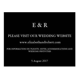 Negro sólido con el detalle blanco del boda postales