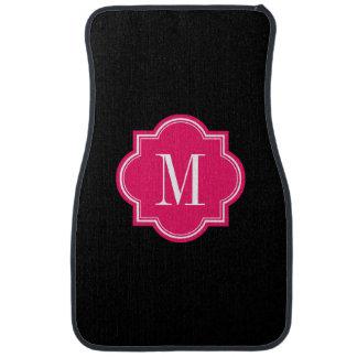 Negro sólido con el monograma de las rosas fuertes alfombrilla de auto