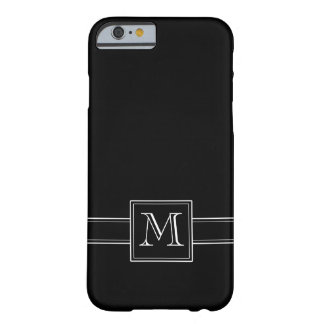 Negro sólido con el monograma funda barely there iPhone 6