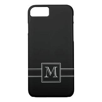 Negro sólido con el monograma funda iPhone 7