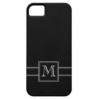 Negro sólido con el monograma funda para iPhone SE/5/5s
