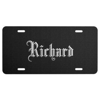 Negro sólido personalizado placa de matrícula