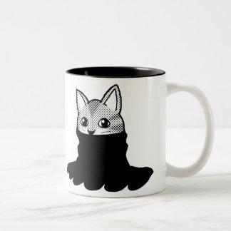 Negro sonriente del cuello alto del gato taza de dos tonos
