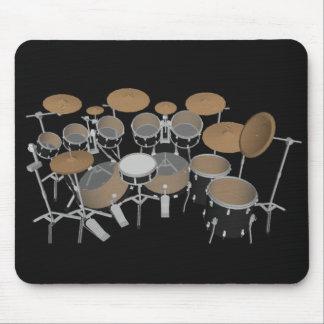 Negro tambor de 10 pedazos fijado: Mousepad negro: Tapetes De Raton