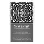 Negro+Tejas florales blancas con la tarjeta de vis Plantillas De Tarjetas Personales