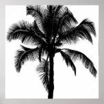 Negro tropical hawaiano retro de la silueta de la  posters