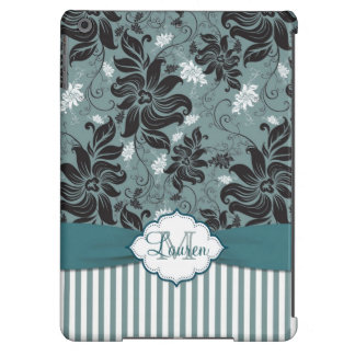Negro, trullo, monograma floral blanco funda para iPad air