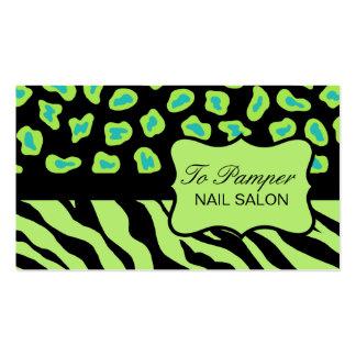 Negro, trullo y cebra verde y personalizado de la tarjetas de visita