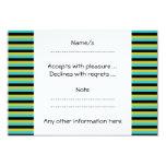 Negro, turquesa y rayas amarillas invitación 8,9 x 12,7 cm