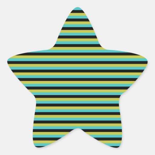 Negro, turquesa y rayas amarillas pegatina en forma de estrella