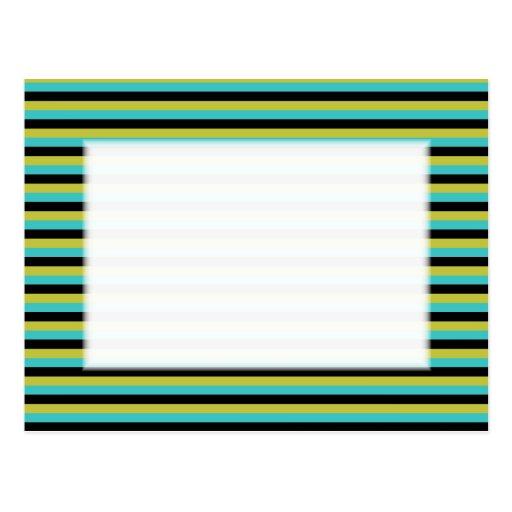 Negro, turquesa y rayas amarillas postal