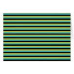 Negro, turquesa y rayas amarillas tarjeta de felicitación