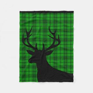 Negro verde de la tela escocesa el   de la silueta manta de forro polar