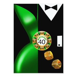 """Negro verde del 40.o cumpleaños ostentoso del art invitación 5"""" x 7"""""""