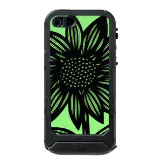 Negro, verde, flor, floral carcasa de iphone 5 incipio atlas id