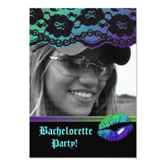 """Negro verde púrpura del fiesta de Bachelorette de Invitación 5"""" X 7"""""""