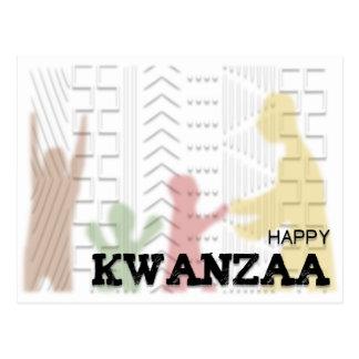Negro verde rojo feliz moderno de Kwanzaa Postal
