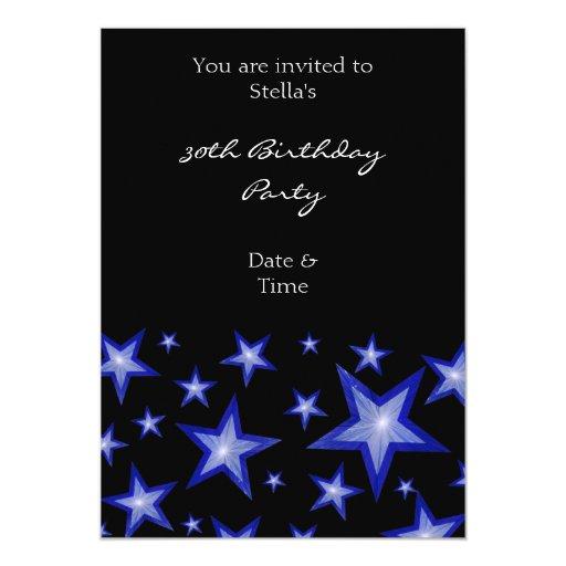 Negro vertical de la invitación azul marino de las