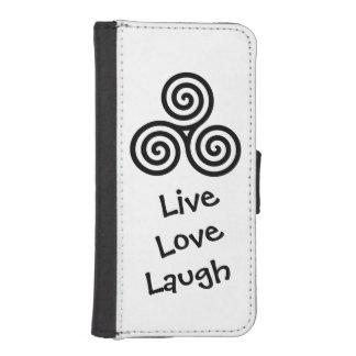 Negro vivo de la risa del amor del espiral triple billetera para iPhone 5