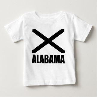 Negro X de la bandera de Alabama y texto Remeras