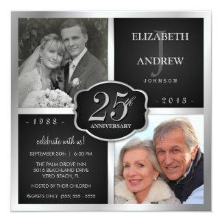 """Negro y 25to aniversario de boda de la plata invitación 5.25"""" x 5.25"""""""