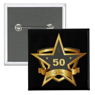 Negro y 50.a estrella del cumpleaños del oro pin cuadrado