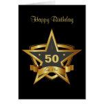 Negro y 50.a estrella del cumpleaños del oro felicitaciones