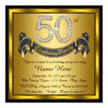 Negro y 50.a fiesta de cumpleaños del oro invitación
