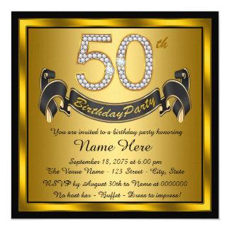 """Negro y 50.a fiesta de cumpleaños del oro invitación 5.25"""" x 5.25"""""""