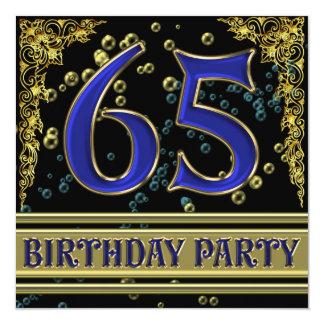Negro y 65.a fiesta de cumpleaños del oro invitación 13,3 cm x 13,3cm