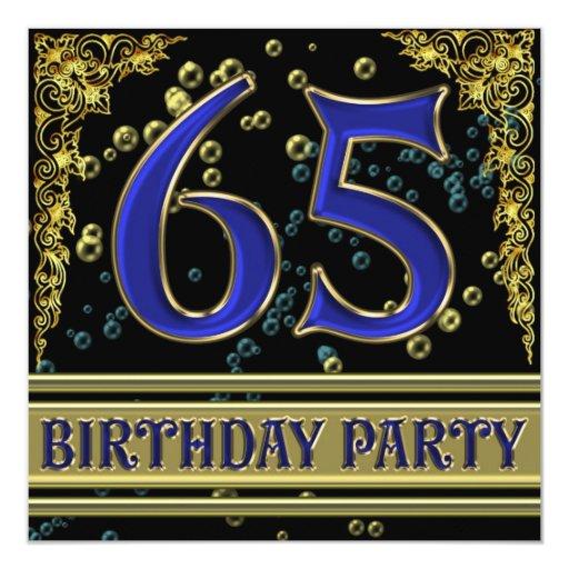 """Negro y 65.a fiesta de cumpleaños del oro invitación 5.25"""" x 5.25"""""""