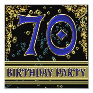 """Negro y 70.a fiesta de cumpleaños del oro invitación 5.25"""" x 5.25"""""""