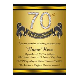 """Negro y 70.a fiesta de cumpleaños del oro invitación 6.5"""" x 8.75"""""""