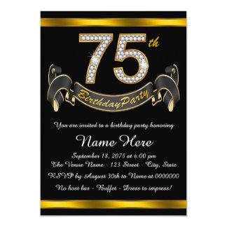 """Negro y 75.a fiesta de cumpleaños del oro invitación 5"""" x 7"""""""