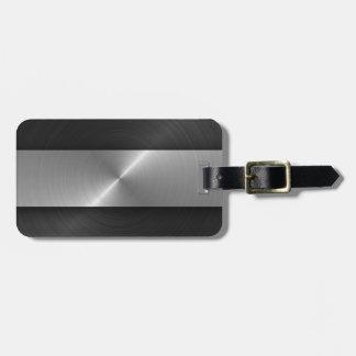 Negro y acero etiqueta de maleta