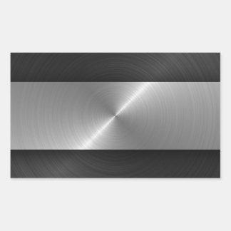 Negro y acero pegatina rectangular
