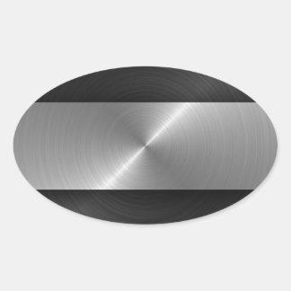 Negro y acero pegatina ovalada